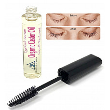 Castor oil stimulate eyelash growth serum, grows longer, thicker eyelashes & beautiful eyebrows, cold pressed organic 100% pure hexane free brow treatment in mascara tube 0.34 oz