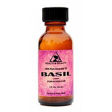 Basil essential oil linalool aromatherapy 100% pure glass bottle 1 oz, 30 ml