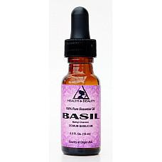Basil essential oil methyl chavicol aromatherapy pure glass dropper 0.5 oz 15 ml