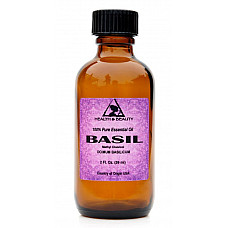 Basil essential oil methyl chavicol aromatherapy pure glass bottle 2 oz, 59 ml