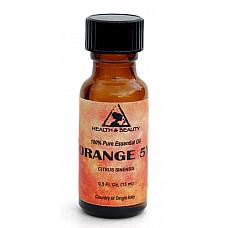 Orange 5x (5 fold) essential oil organic aromatherapy glass bottle 0.5 oz, 15 ml