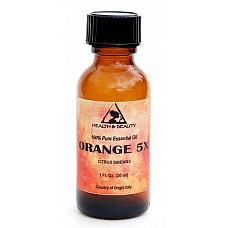 Orange 5x (5 fold) essential oil organic aromatherapy glass bottle 1 oz, 30 ml