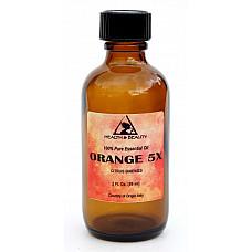 Orange 5x (5 fold) essential oil organic aromatherapy glass bottle 2 oz, 59 ml