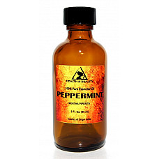 Peppermint essential oil aromatherapy natural 100% pure glass bottle 2 oz, 59 ml