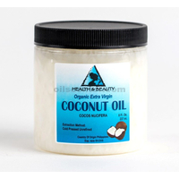 Coconut oil extra virgin unrefined organic cold pressed raw pure in jar 8 oz