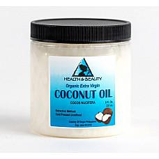 Coconut oil extra virgin unrefined organic cold pressed raw pure in jar 8 oz