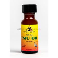 Emu oil australian organic triple refined 100% pure 0.5 oz in glass bottle
