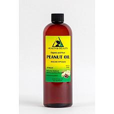 Peanut oil unrefined organic carrier cold pressed virgin raw pure 16 oz